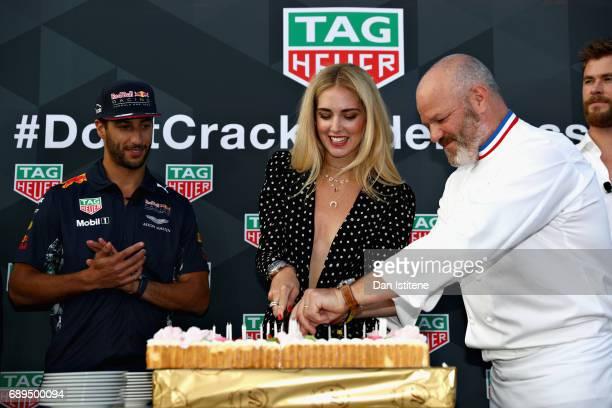 Daniel Ricciardo of Australia and Red Bull Racing Fashion blogger and model Chiara Ferragni and Chef Philippe Etchebest at the TAG Heuer Culinary...