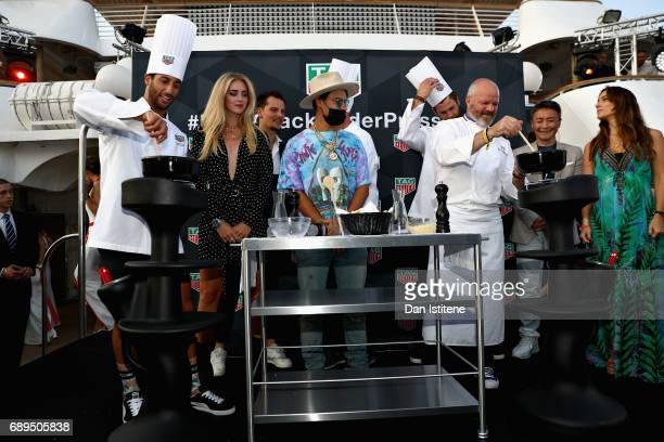 Daniel Ricciardo of Australia and Red Bull Racing Fashion blogger and model Chiara Ferragni monon Chef Philippe Etchebest and Actor Chris Hemsworth...