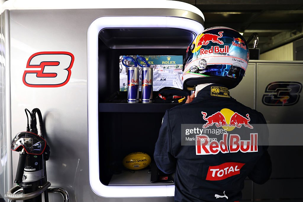 Daniel Ricciardo of Australia and Red Bull Racing gets ready in the garage during practice for the Monaco Formula One Grand Prix at Circuit de Monaco on May 26, 2016 in Monte-Carlo, Monaco.