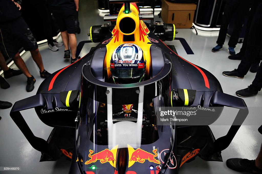 Daniel Ricciardo of Australia and Red Bull Racing in his Red Bull Racing Red BullTAG Heuer RB12 TAG Heuer fitted with the aeroscreen in the garage...