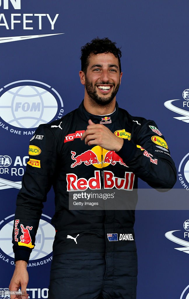 <a gi-track='captionPersonalityLinkClicked' href=/galleries/search?phrase=Daniel+Ricciardo&family=editorial&specificpeople=6547569 ng-click='$event.stopPropagation()'>Daniel Ricciardo</a> of Australia and Red Bull Racing in parc ferme after getting third on the grid during qualifying for the European Formula One Grand Prix at Baku City Circuit on June 18, 2016 in Baku, Azerbaijan.