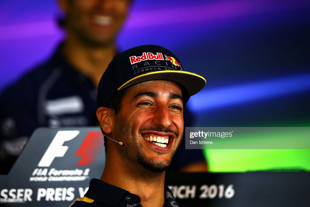 <a gi-track='captionPersonalityLinkClicked' href=/galleries/search?phrase=Daniel+Ricciardo&family=editorial&specificpeople=6547569 ng-click='$event.stopPropagation()'>Daniel Ricciardo</a> of Australia and Red Bull Racing in the Drivers Press Conference during previews ahead of the Formula One Grand Prix of Austria at Red Bull Ring on June 30, 2016 in Spielberg, Austria.