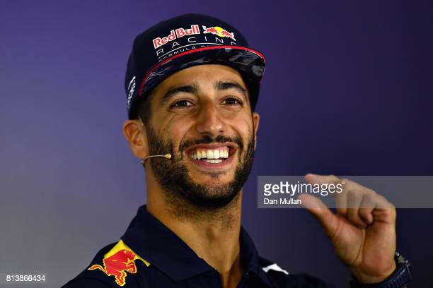 Daniel Ricciardo of Australia and Red Bull Racing in the Drivers Press Conference during previews ahead of the Formula One Grand Prix of Great...