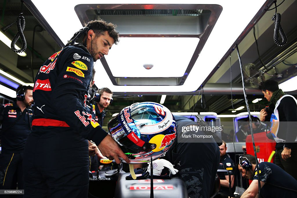 <a gi-track='captionPersonalityLinkClicked' href=/galleries/search?phrase=Daniel+Ricciardo&family=editorial&specificpeople=6547569 ng-click='$event.stopPropagation()'>Daniel Ricciardo</a> of Australia and Red Bull Racing in the garage during practice for the Formula One Grand Prix of Russia at Sochi Autodrom on April 29, 2016 in Sochi, Russia.