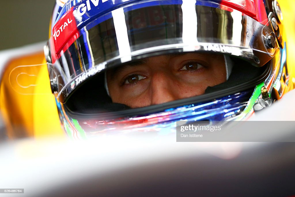 <a gi-track='captionPersonalityLinkClicked' href=/galleries/search?phrase=Daniel+Ricciardo&family=editorial&specificpeople=6547569 ng-click='$event.stopPropagation()'>Daniel Ricciardo</a> of Australia and Red Bull Racing in the garage during final practice ahead of the Formula One Grand Prix of Russia at Sochi Autodrom on April 30, 2016 in Sochi, Russia.