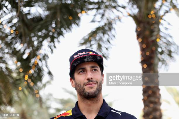 Daniel Ricciardo of Australia and Red Bull Racing in the Paddock during previews to the Bahrain Formula One Grand Prix at Bahrain International...