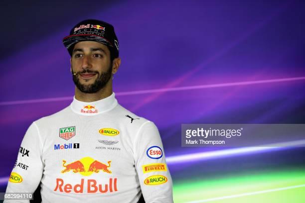 Daniel Ricciardo of Australia and Red Bull Racing in the post race press conference during the Spanish Formula One Grand Prix at Circuit de Catalunya...