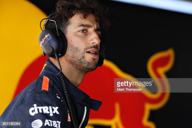 Daniel Ricciardo of Australia and Red Bull Racing looks on during final practice for the Formula One Grand Prix of Hungary at Hungaroring on July 29...