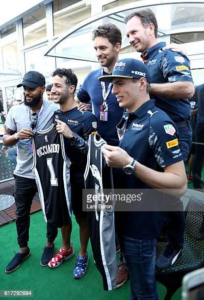 Daniel Ricciardo of Australia and Red Bull Racing Max Verstappen of Netherlands and Red Bull Racing and Red Bull Racing Team Principal Christian...