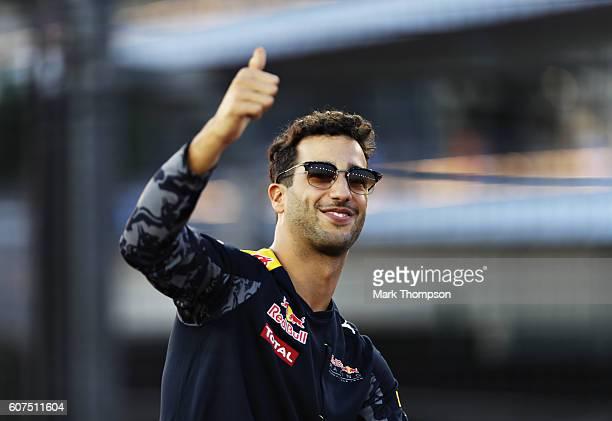 Daniel Ricciardo of Australia and Red Bull Racing on the drivers parade before the Formula One Grand Prix of Singapore at Marina Bay Street Circuit...