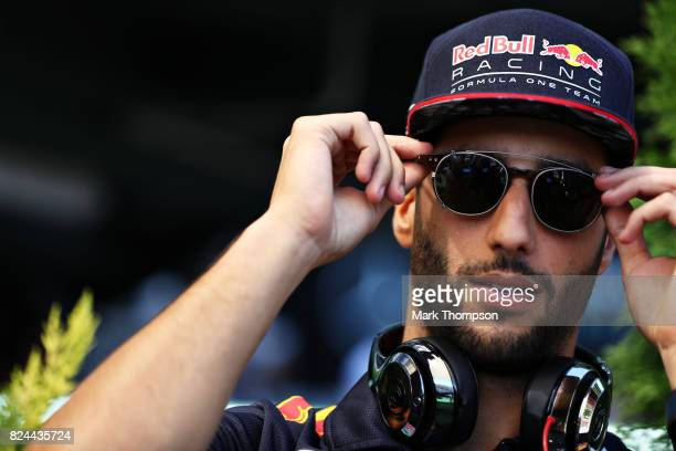 Daniel Ricciardo of Australia and Red Bull Racing on the drivers parade before the Formula One Grand Prix of Hungary at Hungaroring on July 30 2017...