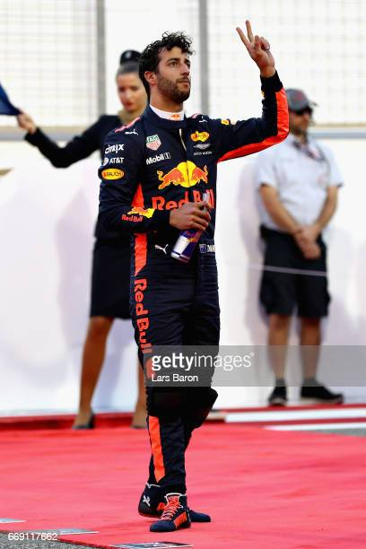 Daniel Ricciardo of Australia and Red Bull Racing on the grid before the Bahrain Formula One Grand Prix at Bahrain International Circuit on April 16...