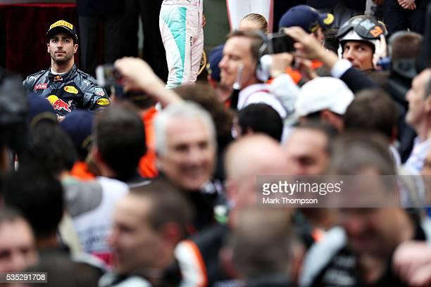 Daniel Ricciardo of Australia and Red Bull Racing on the podium during the Monaco Formula One Grand Prix at Circuit de Monaco on May 29 2016 in...