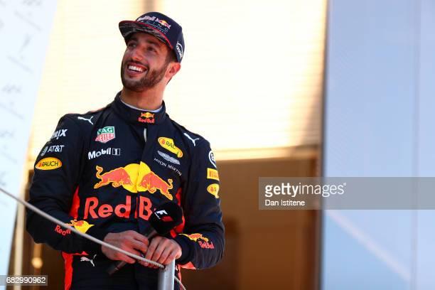 Daniel Ricciardo of Australia and Red Bull Racing on the podium during the Spanish Formula One Grand Prix at Circuit de Catalunya on May 14 2017 in...