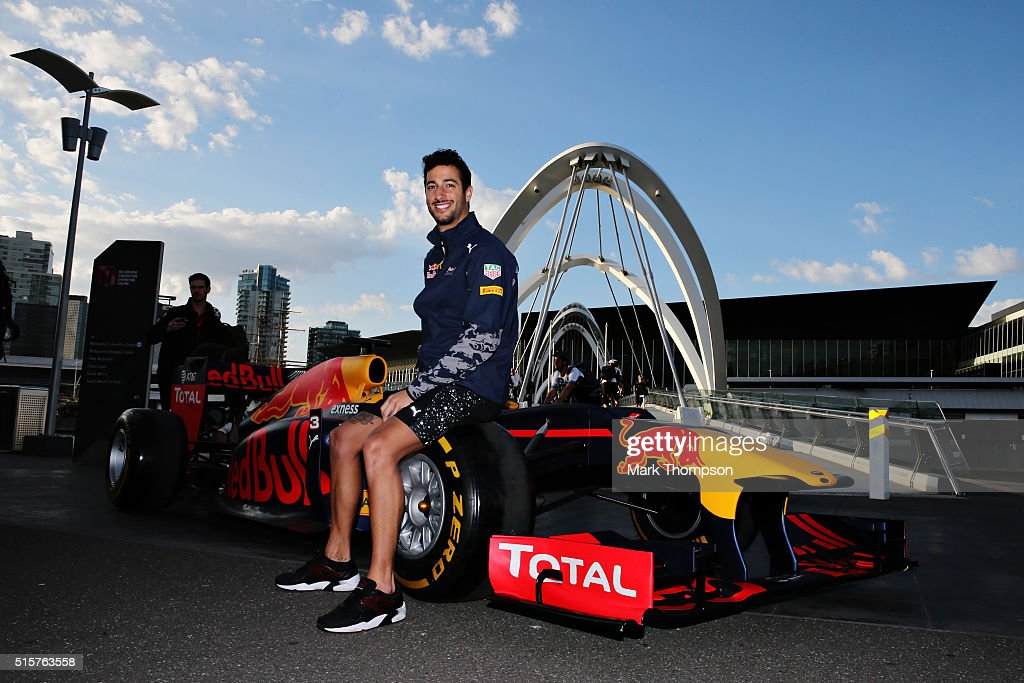 Daniel Ricciardo of Australia and Red Bull Racing poses for a photo with the Red Bull RB12 during previews to the Australian Formula One Grand Prix at Albert Park on March 16, 2016 in Melbourne, Australia.