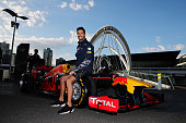Daniel Ricciardo of Australia and Red Bull Racing poses for a photo with the Red Bull RB12 during previews to the Australian Formula One Grand Prix...