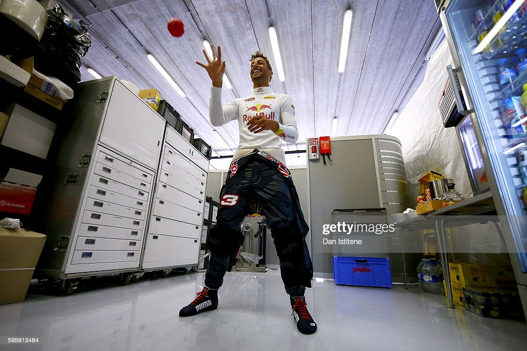 Daniel Ricciardo of Australia and Red Bull Racing prepares in the garage during practice for the Formula One Grand Prix of Belgium at Circuit de...
