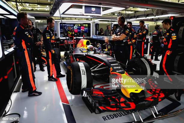 Daniel Ricciardo of Australia and Red Bull Racing prepares to drive in the garage during the Bahrain Formula One Grand Prix at Bahrain International...