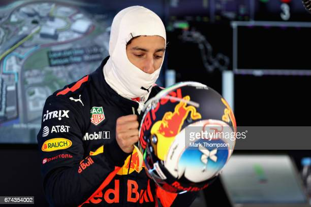 Daniel Ricciardo of Australia and Red Bull Racing prepares to drive in the garage during practice for the Formula One Grand Prix of Russia on April...