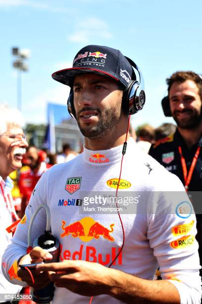 Daniel Ricciardo of Australia and Red Bull Racing prepares to drive on the grid before the Formula One Grand Prix of Hungary at Hungaroring on July...