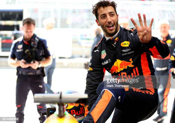 Daniel Ricciardo of Australia and Red Bull Racing prepares to drive in the garage before the Formula One Grand Prix of Hungary at Hungaroring on July...