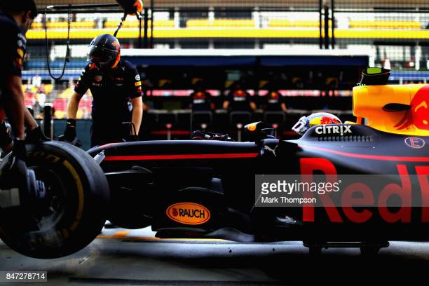 Daniel Ricciardo of Australia and Red Bull Racing prepares to drive during practice for the Formula One Grand Prix of Singapore at Marina Bay Street...