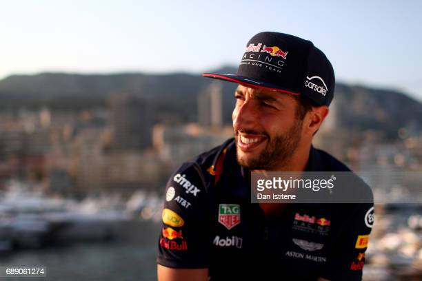 Daniel Ricciardo of Australia and Red Bull Racing relaxes on the Red Bull Racing Energy Station during qualifying for the Monaco Formula One Grand...