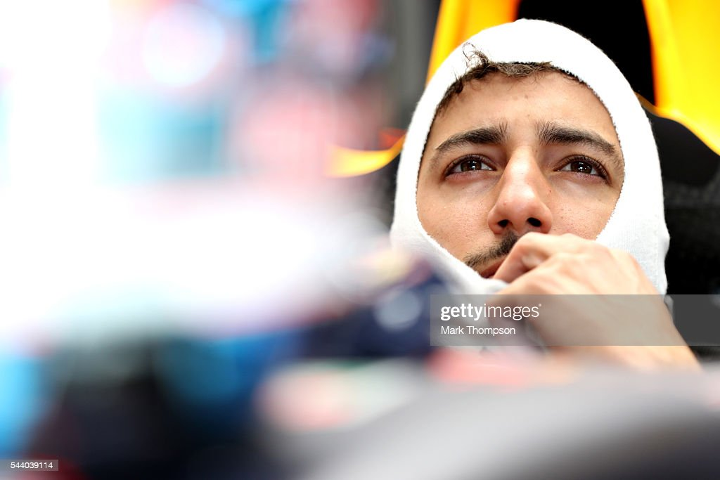 Daniel Ricciardo of Australia and Red Bull Racing sits in his car in the garage during practice for the Formula One Grand Prix of Austria at Red Bull Ring on July 1, 2016 in Spielberg, Austria.