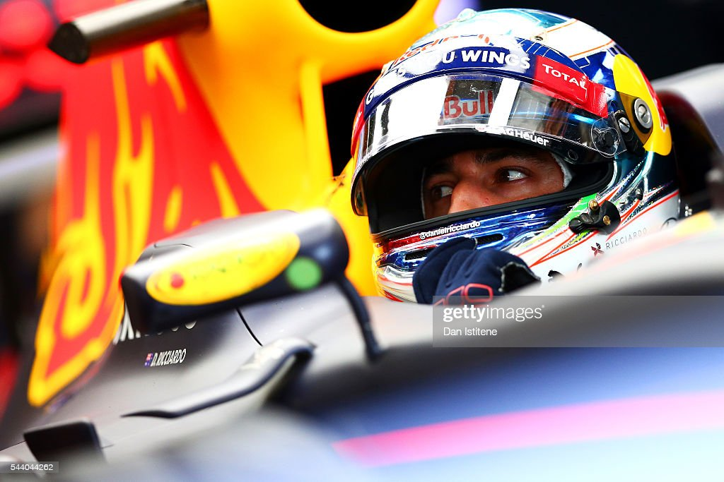 <a gi-track='captionPersonalityLinkClicked' href=/galleries/search?phrase=Daniel+Ricciardo&family=editorial&specificpeople=6547569 ng-click='$event.stopPropagation()'>Daniel Ricciardo</a> of Australia and Red Bull Racing sits in his car in the garage during practice for the Formula One Grand Prix of Austria at Red Bull Ring on July 1, 2016 in Spielberg, Austria.