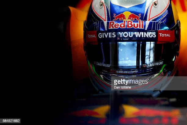 Daniel Ricciardo of Australia and Red Bull Racing sits in his car in the garage during practice for the Formula One Grand Prix of Germany at...