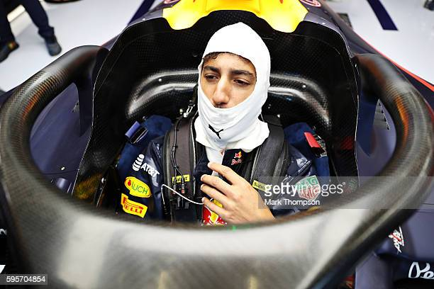 Daniel Ricciardo of Australia and Red Bull Racing sits in his car with the halo attached in the garage during practice for the Formula One Grand Prix...