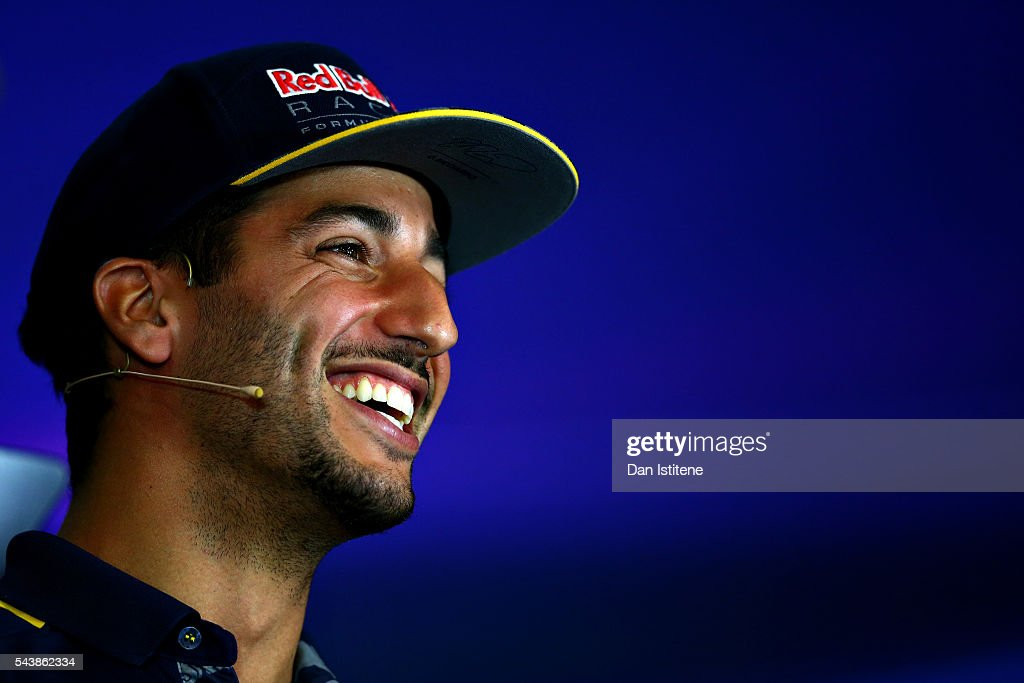 <a gi-track='captionPersonalityLinkClicked' href=/galleries/search?phrase=Daniel+Ricciardo&family=editorial&specificpeople=6547569 ng-click='$event.stopPropagation()'>Daniel Ricciardo</a> of Australia and Red Bull Racing smiles in the Drivers Press Conference during previews ahead of the Formula One Grand Prix of Austria at Red Bull Ring on June 30, 2016 in Spielberg, Austria.