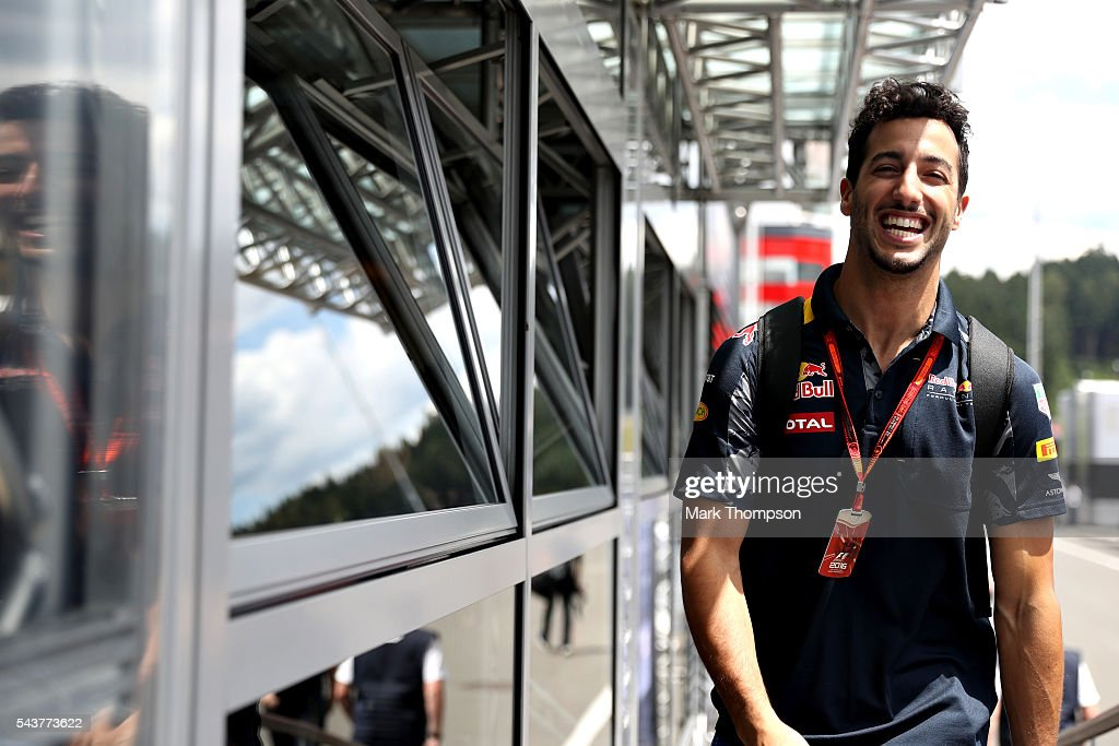 <a gi-track='captionPersonalityLinkClicked' href=/galleries/search?phrase=Daniel+Ricciardo&family=editorial&specificpeople=6547569 ng-click='$event.stopPropagation()'>Daniel Ricciardo</a> of Australia and Red Bull Racing walks in the Paddock during previews ahead of the Formula One Grand Prix of Austria at Red Bull Ring on June 30, 2016 in Spielberg, Austria.