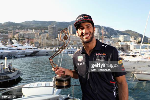 Daniel Ricciardo of Australia and Red Bull Racing with his trophy for finishing in third place during the Monaco Formula One Grand Prix at Circuit de...