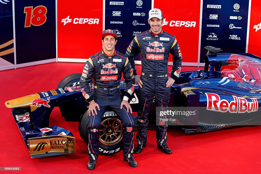 <a gi-track='captionPersonalityLinkClicked' href=/galleries/search?phrase=Daniel+Ricciardo&family=editorial&specificpeople=6547569 ng-click='$event.stopPropagation()'>Daniel Ricciardo</a> of Australia and Scuderia Toro Rosso and <a gi-track='captionPersonalityLinkClicked' href=/galleries/search?phrase=Jean-Eric+Vergne&family=editorial&specificpeople=7077576 ng-click='$event.stopPropagation()'>Jean-Eric Vergne</a> of France and Scuderia Toro Rosso pose during the Toro Rosso F1 STR8 Launch at Circuito de Jerez on February 4, 2013 in Jerez de la Frontera, Spain.