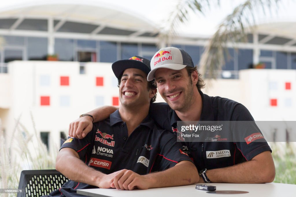 <a gi-track='captionPersonalityLinkClicked' href=/galleries/search?phrase=Daniel+Ricciardo&family=editorial&specificpeople=6547569 ng-click='$event.stopPropagation()'>Daniel Ricciardo</a> of Australia and Scuderia Toro Rosso and team mate <a gi-track='captionPersonalityLinkClicked' href=/galleries/search?phrase=Jean-Eric+Vergne&family=editorial&specificpeople=7077576 ng-click='$event.stopPropagation()'>Jean-Eric Vergne</a> of France and Scuderia Toro Rosso joke with one another in the paddock during previews for the Bahrain Formula One Grand Prix at the Bahrain International Circuit on April 18, 2013 in Sakhir, Bahrain.