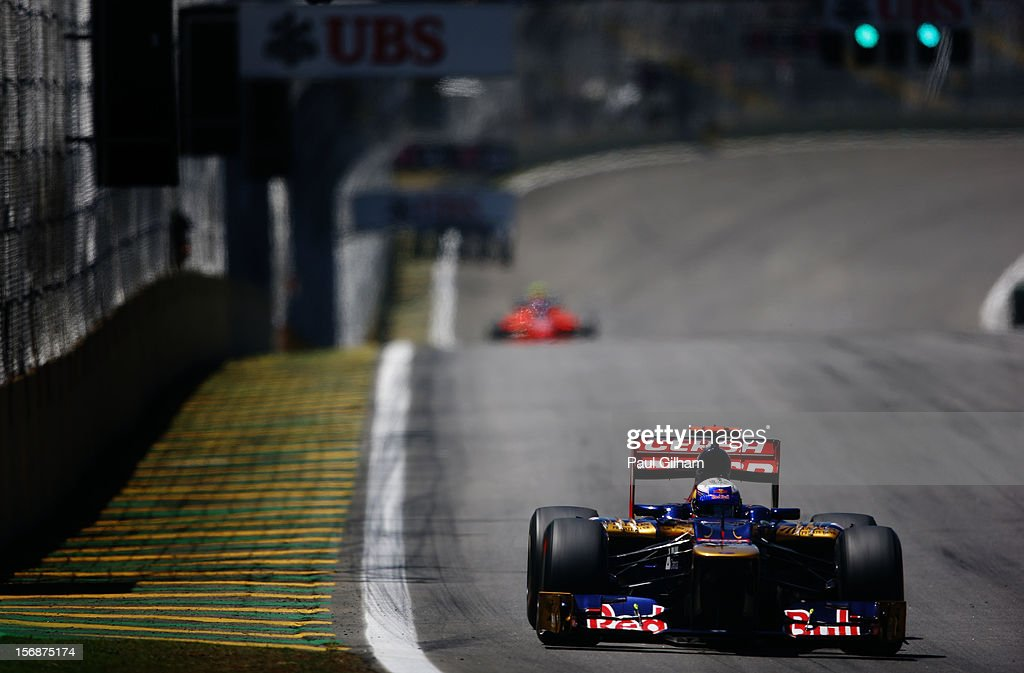 Daniel Ricciardo of Australia and Scuderia Toro Rosso drives during practice for the Brazilian Formula One Grand Prix at the Autodromo Jose Carlos Pace on November 23, 2012 in Sao Paulo, Brazil.