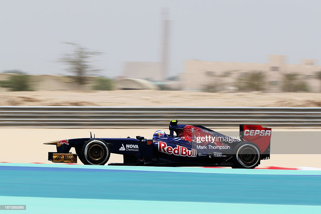 Daniel Ricciardo of Australia and Scuderia Toro Rosso drives during the final practice session prior to qualifying for the Bahrain Formula One Grand Prix at the Bahrain International Circuit on April 20, 2013 in Sakhir, Bahrain.