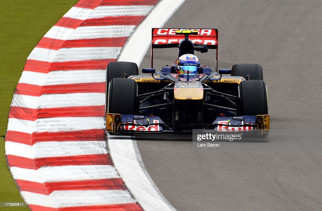 Daniel Ricciardo of Australia and Scuderia Toro Rosso drives during practice for the German Grand Prix at the Nuerburgring on July 5, 2013 in Nuerburg, Germany.