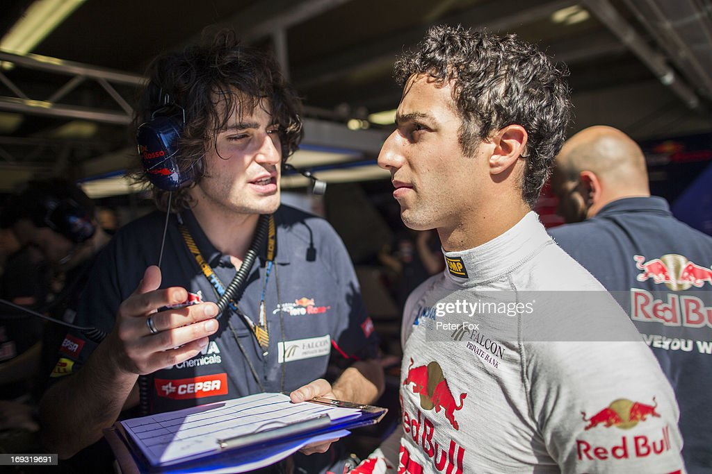 Daniel Ricciardo of Australia and Scuderia Toro Rosso speaks with Marco Matassa the Scuderia Toro Rosso Race Engineer during practice for the Monaco Formula One Grand Prix at the Circuit de Monaco on May 23, 2013 in Monte-Carlo, Monaco.