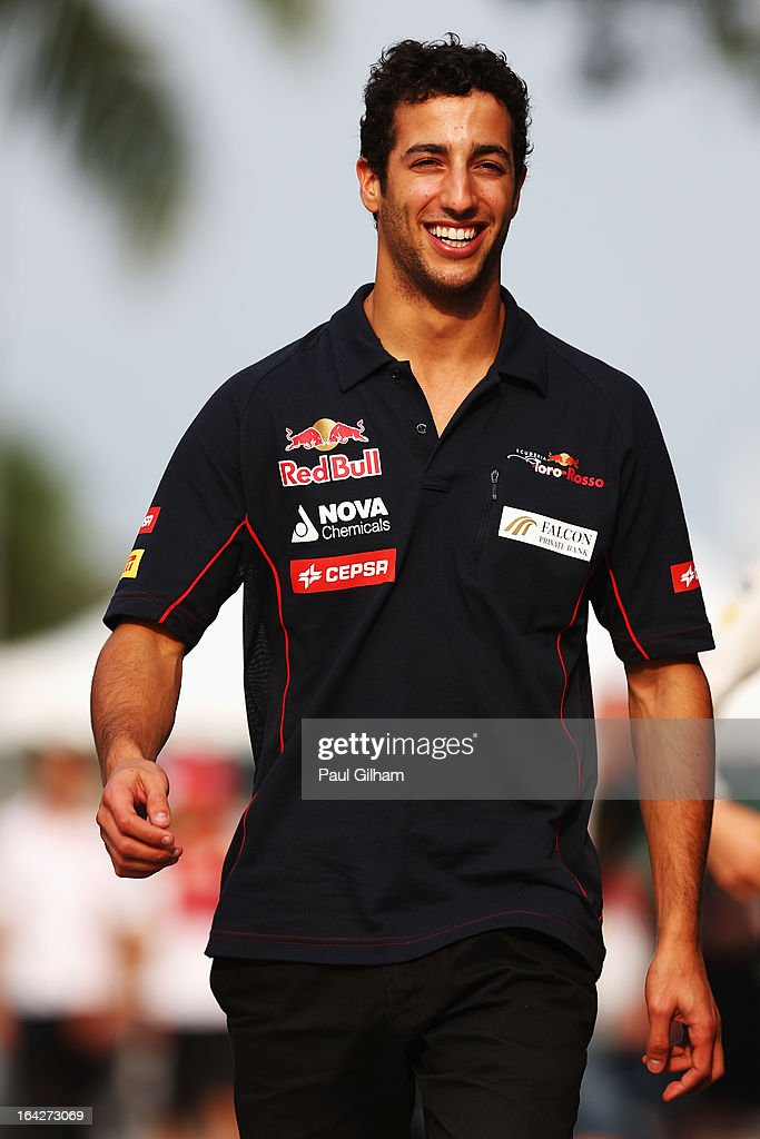 <a gi-track='captionPersonalityLinkClicked' href=/galleries/search?phrase=Daniel+Ricciardo&family=editorial&specificpeople=6547569 ng-click='$event.stopPropagation()'>Daniel Ricciardo</a> of Australia and Scuderia Toro Rosso walks in the paddock following practice for the Malaysian Formula One Grand Prix at the Sepang Circuit on March 22, 2013 in Kuala Lumpur, Malaysia.