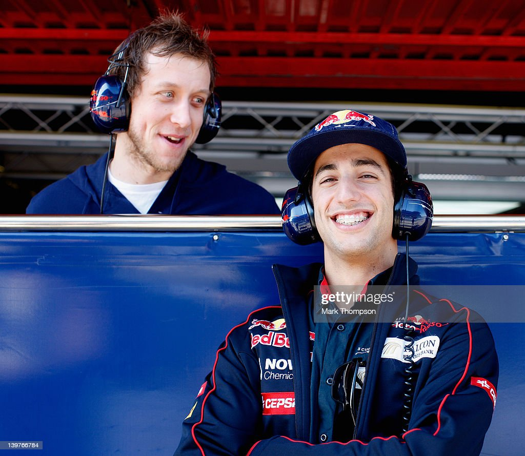 <a gi-track='captionPersonalityLinkClicked' href=/galleries/search?phrase=Daniel+Ricciardo&family=editorial&specificpeople=6547569 ng-click='$event.stopPropagation()'>Daniel Ricciardo</a> (R) of Australia and Scuderia Toro Rosso with Australian basketball player <a gi-track='captionPersonalityLinkClicked' href=/galleries/search?phrase=Joe+Ingles&family=editorial&specificpeople=3868025 ng-click='$event.stopPropagation()'>Joe Ingles</a> during day four of Formula One winter testing at Circuit de Catalunya on February 22, 2012 in Barcelona, Spain.