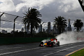 Daniel Ricciardo of Australia drives the Red Bull Racing Red BullTAG Heuer RB12 TAG Heuer on track during practice ahead of the Australian Formula...