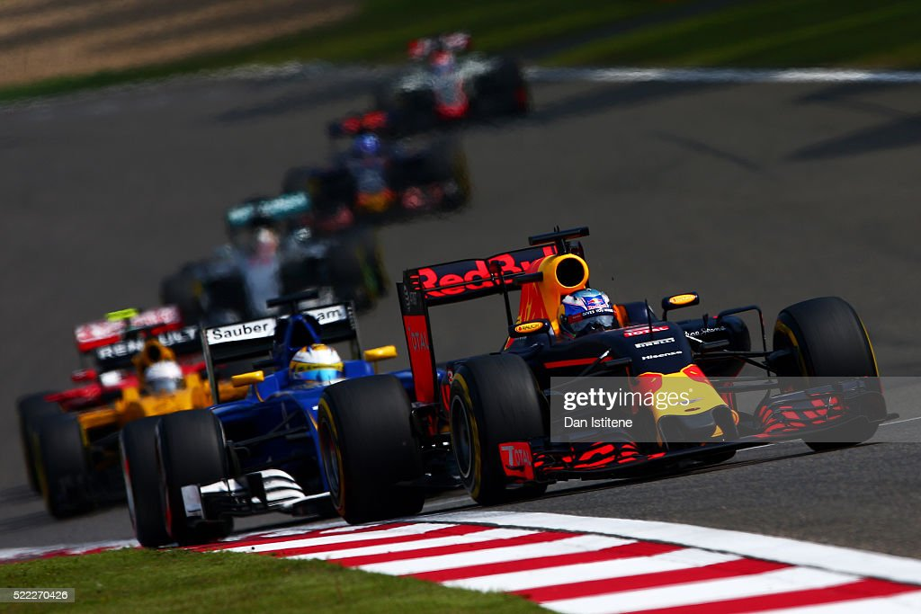 Daniel Ricciardo of Australia drives the Red Bull Racing Red BullTAG Heuer RB12 TAG Heuer during the Formula One Grand Prix of China at Shanghai...