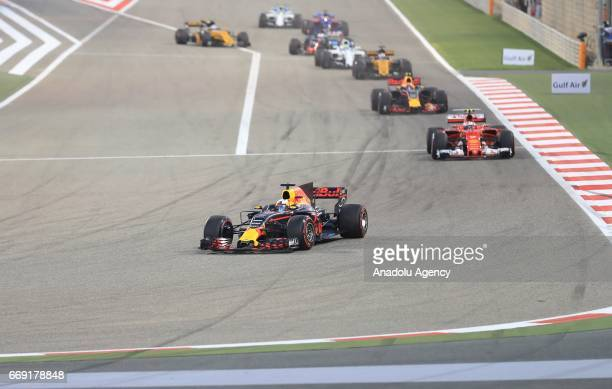 Daniel Ricciardo of Australia drives the Red Bull Racing Team on track during the Bahrain Formula One Grand Prix a threeway battle at Bahrain...