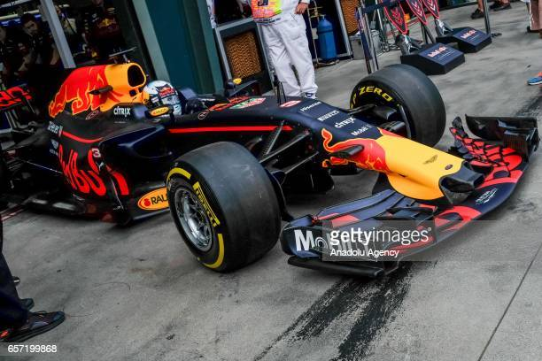 Daniel Ricciardo of Australia driving for Red Bull Racing exits pit lane on Friday Free Practice during the 2017 Rolex Australian Formula 1 Grand...