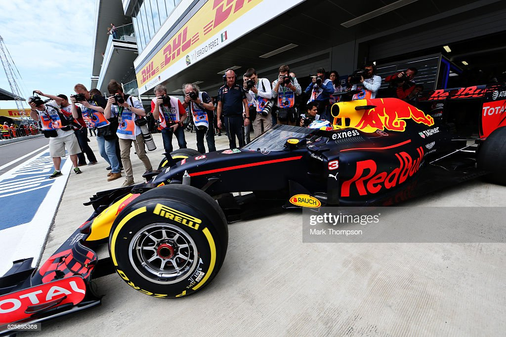 <a gi-track='captionPersonalityLinkClicked' href=/galleries/search?phrase=Daniel+Ricciardo&family=editorial&specificpeople=6547569 ng-click='$event.stopPropagation()'>Daniel Ricciardo</a> of Australia driving the (3) Red Bull Racing Red Bull-TAG Heuer RB12 TAG Heuer leaves the garage with the aeroscreen fitted during practice for the Formula One Grand Prix of Russia at Sochi Autodrom on April 29, 2016 in Sochi, Russia.