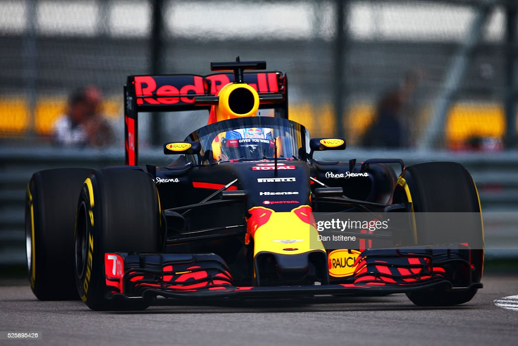 <a gi-track='captionPersonalityLinkClicked' href=/galleries/search?phrase=Daniel+Ricciardo&family=editorial&specificpeople=6547569 ng-click='$event.stopPropagation()'>Daniel Ricciardo</a> of Australia driving the (3) Red Bull Racing Red Bull-TAG Heuer RB12 TAG Heuer fitted with the aeroscreen on track during practice for the Formula One Grand Prix of Russia at Sochi Autodrom on April 29, 2016 in Sochi, Russia.