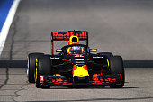 Daniel Ricciardo of Australia driving the Red Bull Racing Red BullTAG Heuer RB12 TAG Heuer fitted with the aeroscreen on track during practice for...