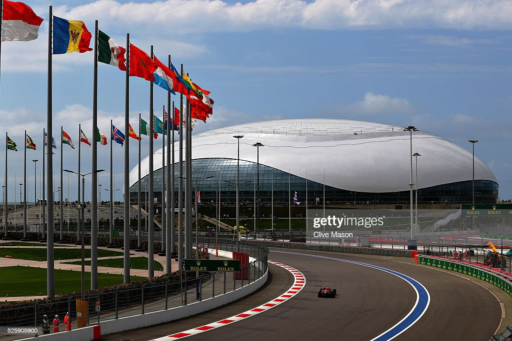 Daniel Ricciardo of Australia driving the (3) Red Bull Racing Red Bull-TAG Heuer RB12 TAG Heuer on track during practice for the Formula One Grand Prix of Russia at Sochi Autodrom on April 29, 2016 in Sochi, Russia.